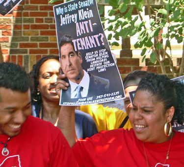 Tenants protest outside Senator Klein's Bronx home in 2010.