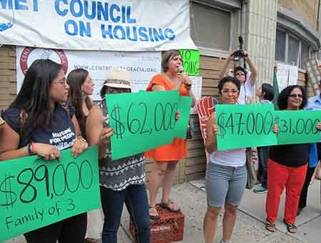 Met Council head Ava Farkas speaks against rezoning plan at rally in Inwood Aug. 6.
