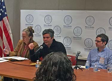 Manhattan Borough President Gale Brewer, left, with Rolando Guzman, and Brandon Kilebasa. Photo by Nova Lucero.