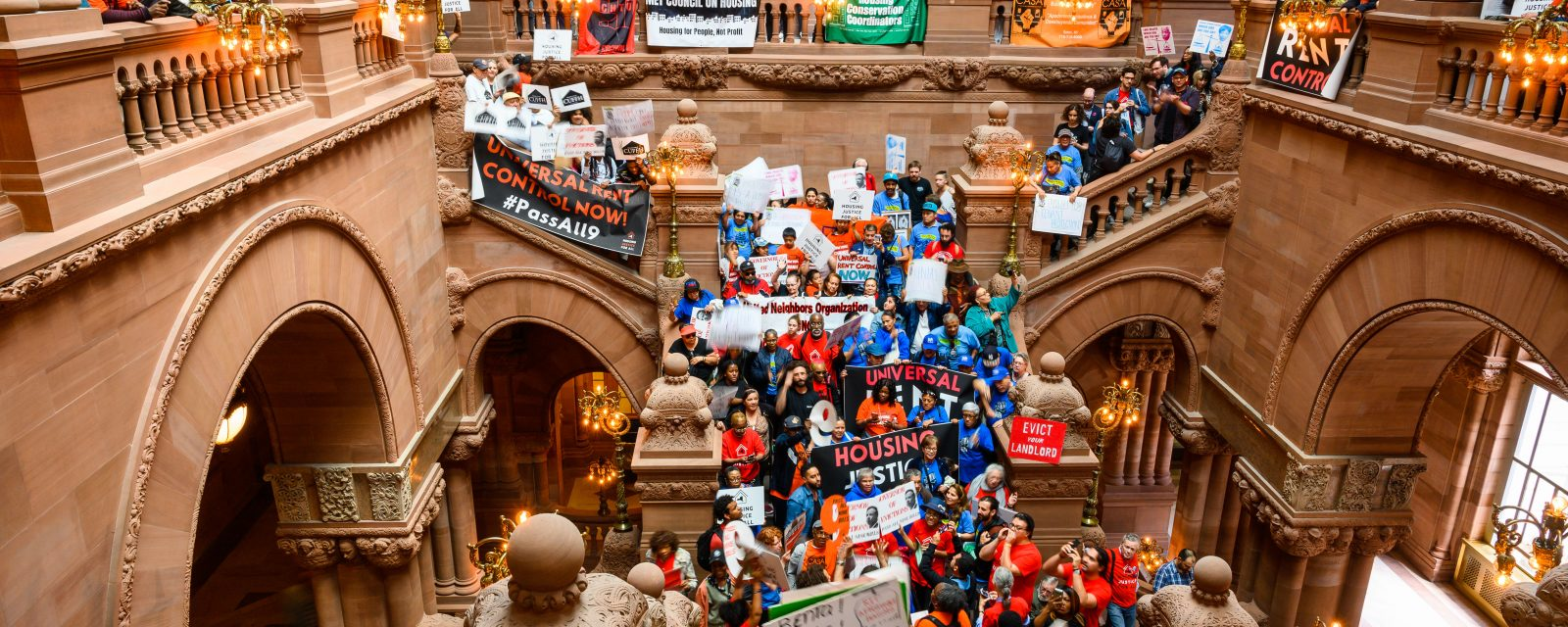 61 people were arrested June 14 in a sit-in at the state capitol demanding stronger rent laws.